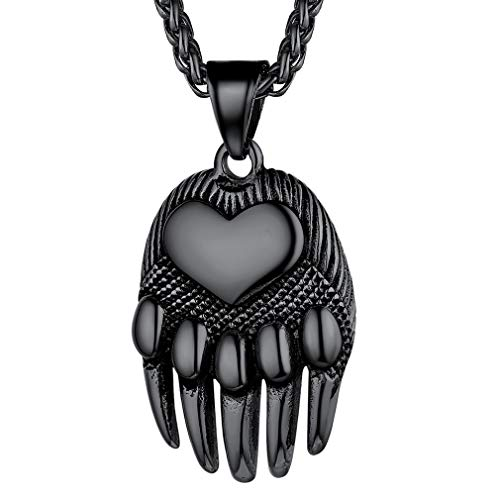 FaithHeart Mens Norse Viking Bear Paw Necklace for Men Boy Dog Stainless Steel Norse Amulet Pendant Handmade Celtic Pagan Jewelry Pewter Gift-Black