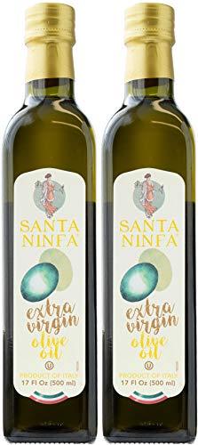 Santa Ninfa 100% Italian Extra Virgin Olive Oil, 17 Fl Oz Marasca Glass Bottle (Pack of 2)