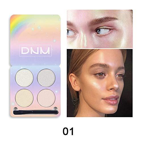 Allbesta 4 Farben Highlighter Chameleon Lidschatten Palette Pressed Powder High-gloss Matte Glitter Make-Up Set mit Pinsel