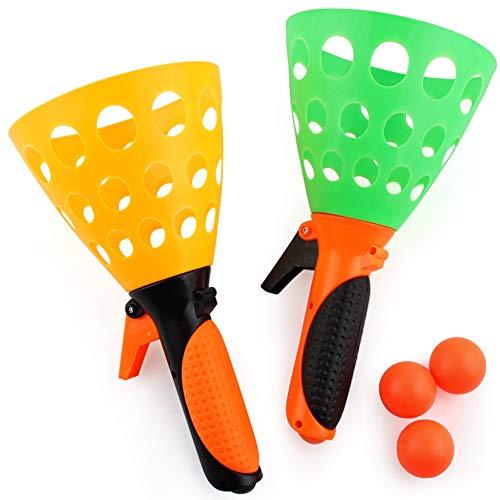 Kunststoff Fangballspiel Launch and Catch the Ball Das Original Pop \'N Catch Spiel Doppel Set -Vervollkommnen Sie für Hinterhof, Strand, Heckklappe   Spaß für Kinder und Erwachsene (1set)