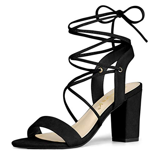 Allegra K Women's Lace Up Block High Heels Black Sandals - 10 M US