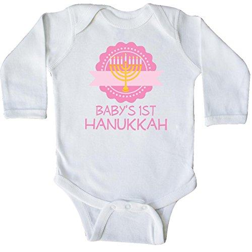 inktastic Babys 1st Hanukkah Long Sleeve Creeper Newborn White 1fa39