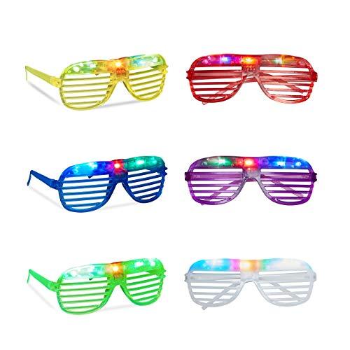 relaxdays Gafas de Fiesta LED, Accesorio de Carnaval con Luces, Plástico, Varios Colores, (10020602) , color/modelo surtido