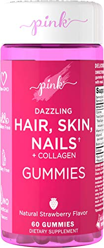 Pink Dazzling Hair, Skin & Nails | with Biotin & Collagen | 60 Strawberry Gummies | Non-GMO, Gluten Free - Supplement for Women