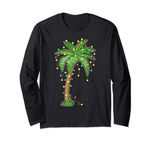 Christmas Lights Palm Tree Beach Funny Tropical Xmas Gift Long Sleeve T-Shirt