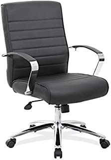 OfficeSource Modern Mid Back Office Chair with Arms, Black Upholstered Seat & Back, Chrome Frame, Built in Lumbar Support (696BLK)