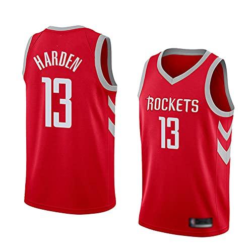 Wo nice Uniformes De Baloncesto para Hombre, Houston Rockets # 13 James Harden NBA Basketball Jerseys Casual Sueltos Camisetas Chalecos Transpirables,Rojo,XL(180~185CM)