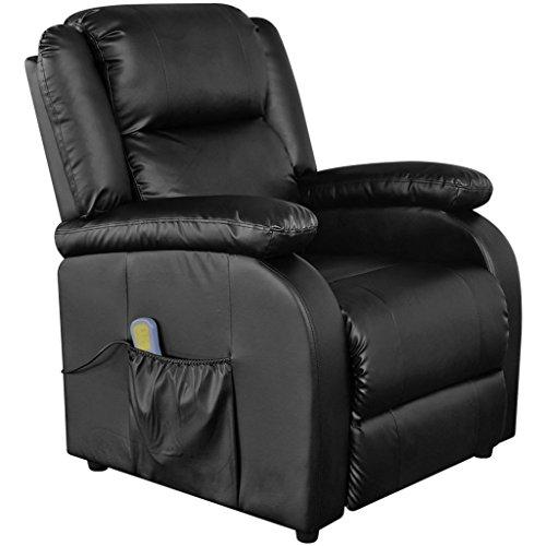 Festnight Elektrischer Massagesessel Massage Sessel aus Kunstleder Fernsehsessel mit Heizfunktion Schwarz