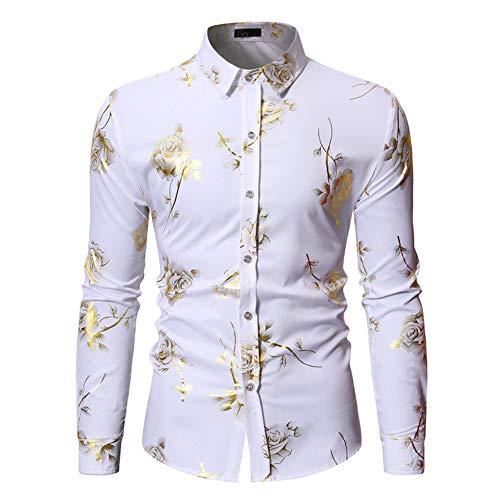 Camisa de hombre de poliéster bronceado, diseño de flores, solapa, manga larga, cárdigan para hombre, 6 colores disponibles, blanco, grande