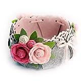 Cesta de almacenamiento de flores gris pequeña cesta de almacenamiento de fieltro set de bricolaje hecho a mano ayuda de enseñanza de material de tela paquete de corte libre