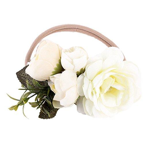 Ever Fairy Flower Crown Elastic Flower Headband Baby Girl Toddler Floral Crown Wreath Newborn Hair Accessories (White)