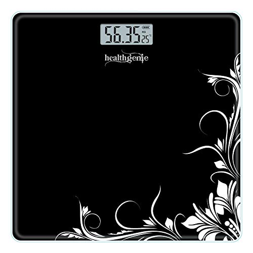 Healthgenie Thick Tempered Glass Lcd Display Digital Weighing Machine , Weight Machine For Human Body Digital Weighing Scale, Weight Scale, with 1 Year Warranty (Black Pattern).