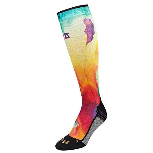 Zensah Limited Edition Running Compression Socks - Anti-Blister, Comfortable, Moisture Wicking, Knee High Sport Socks (Watercolors-Yellow/Red, Small (Men's 4-6.5, Women's 5-8))