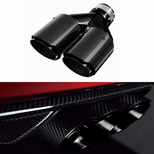 Rocomoco Dual Car Carbon Fiber Exhaust Tip Y-style Muffler Pipes Exhaust Tips with Mirror Polishing Stainless Steel, Inlet 63mm(2.5inches) Outlet 89mm(3.5inches)- Glossy Carbon Fiber