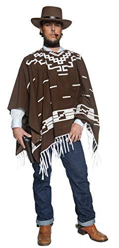 Smiffys- Miffy Disfraz auténtico de Pistolero errante del Viejo Oeste, Marrón, con Poncho, Cami, Color, M - Tamaño 38