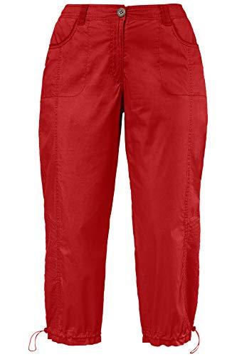 Ulla Popken Damen Cargohose 7/8 Hose, Rot (Pink 55), W(Herstellergröße: 50)