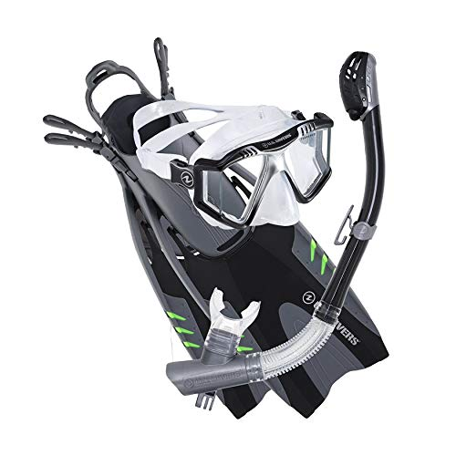 U.S. Divers Lux Mask Fins Snorkel Set Compatible with GoPro, Black/Gray, Large/X-Large