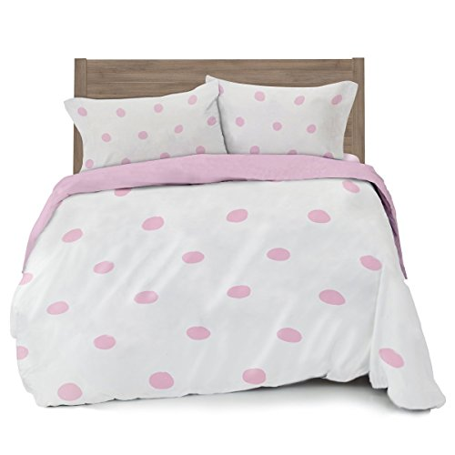 Where The Polka Dots Roam Full/Queen Pink Polka Dot Duvet Cover Set with 2 Pillowcases for Kid Bedding (L 90in x W 92in) …