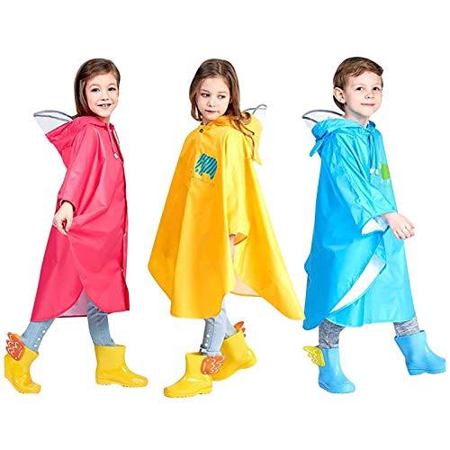 LIEIKIC Kinder Regenponcho Mädchen Jungen Fahrrad Regencape Wasserdicht mit ärmeln Regenmantel Atmungsaktiv Gelb Unisex Regenbekleidung schule 86 116 122 128 134