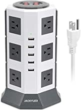 Surge Protector Power Strip Tower JACKYLED 12 AC Outlets 3000W 15A and 5 USB Slots 8A Desktop Smart Charging Station Multiple Protection Heavy Duty 6.5ft 14 AWG Cord White and Gray
