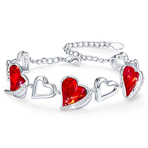 CDE Womens Bracelets 18k White Gold Love Heart Bracelet for Women January Birthstone Embellished with Red Crystals from Austria Gifts for Her Christmas