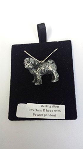 Collar de plata de ley 925 con efecto de peltre y diseño de carlino de pie de 50,8 cm