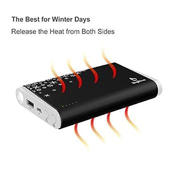 BigBlue Chaufferette Main Electrique 3 en 1, 10000mAh Batterie Externe avec Lampe de Poche, Chauffe-Mains Reutilisable Rechargeable par USB pour Ski Randonnée Camping Cadeaux, Noir