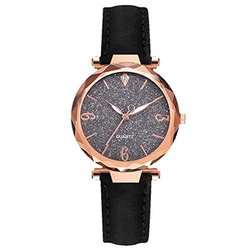 HEling Reloj de cuarzo para mujer, diseño de cielo estrellado luminoso, pulsera con forma de corazón, reloj de pulsera de cuarzo ajustable, Negro , talla única,