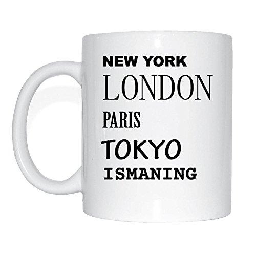 JOllify ISMANING Kaffeetasse Tasse Becher Mug M1871 - Farbe: weiss - Design 2: New York, London, Paris, Tokyo