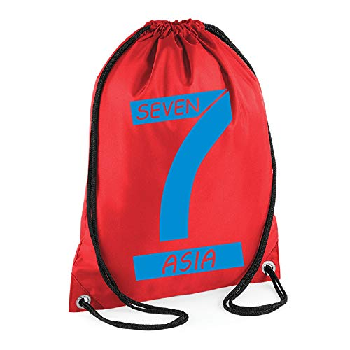 Fashion Graphic Sacca Sport Zaino Zainetto Seven Fighters Mila Shiro Inspired Due Cuori nella Pallavolo Nome Personalizzato (Rosso)