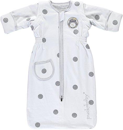 Babyschlafsack Puckababy® - Bag Newborn 0/6 M | 70 cm - White Dotty | Sommer mit abnehmbare Ärmeln