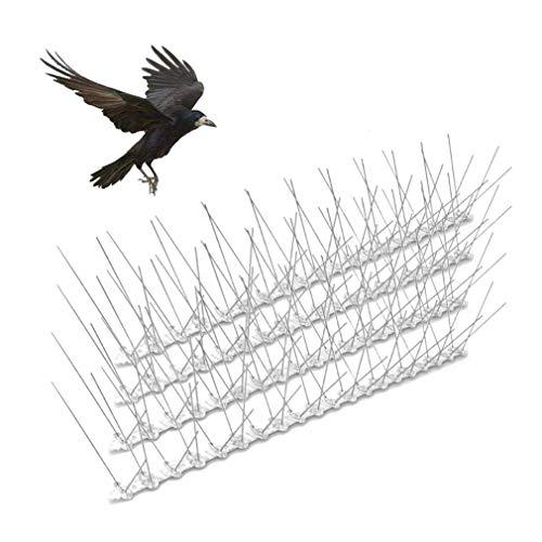 Dsaren Anti Palomas Pinchos Acero Inoxidable Picos de Pájaro 3M Disuasión Repelente Jardin Ahuyentador Pajaros para Aves, Gaviotas, Cuervos, Gatos