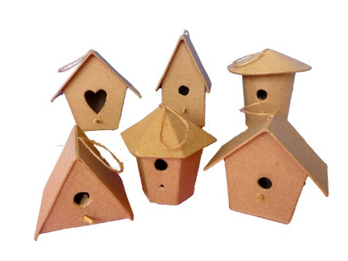 Pappmaché Mini-Vogelhäuser für Kinder und Erwachsene, zum Dekorieren und Verzieren (6 Stück)