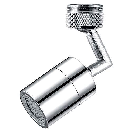 Drehbar Wasserhahn Luftsprudler, Wasserhahn Strahlregler, Universal Spritzfilter Wasserhahn 22mm, Innengewinde und Außengewinde, 2 Flow (Silber)