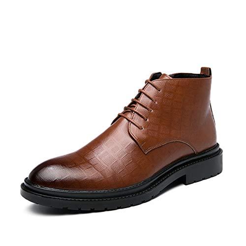 L-YIN Oxford Boots for Men Redond Burnish Toe Zipper con Cremallera Lace Up Plaid Block Block Heel Mid Top Pull Tape Cuero Suela Suela Negro, Marrón (Color : Brown, Size : 45 EU)
