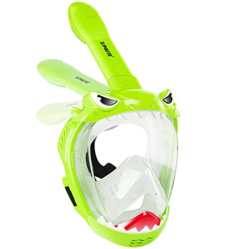 Zipoute Snorkel Full Face Snorkel Mask for Kids, Children Snorkeling Mask 180 Degree Panoramic View, Safe Anti-Leak Anti-Fog, Foldable Snorkeling Gear for Adults and Kids, Dry Top Breathing System