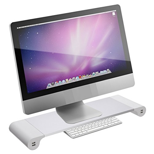 Monitor Stand Riser for Computer PC MAC - Reduce Neck Pain - Keyboard Storage Office Desk Drawer Organizer Keep It Neat and Tidy - 4 USB Power Charging Station (Wall Plug) Within Your Arm Reach