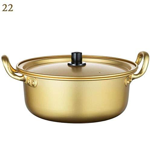 CCMOO Korea Antihaft-Gold Suppentopf Aluminiumlegierung Milchtopf Suppentopf Kocher Salat Instant Nudel Schüssel Küche Kochutensilien, 22cm