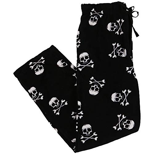 Young Mens Plush Lounge Pants - Skull and Crossbones Black (Small)