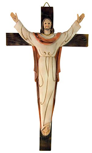"Risen Christ on Cross 13"" Resin Wall Crucifix for Home or Chapel Sanctuary Decor"