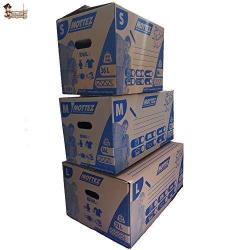 BricoLoco Lote 3 Caja cartón mudanza tamaños Surtidos. Apertura y Cierre automático sin precinto Adhesivo. 2 Asas Ideal Transporte, para Libros. Área de Marcado para rotular.