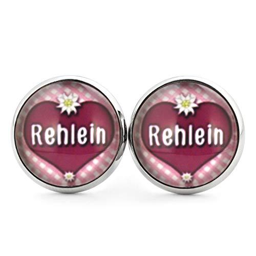 SCHMUCKZUCKER Damen Ohrringe Motiv Rehlein Edelstahl Stecker Silber Herz Edelweiss 14mm Beere