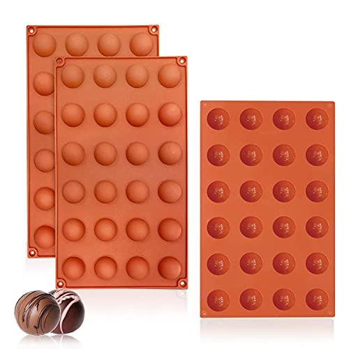 Walfos Bonbon Schokoladenformen, Mini Hemisphere Halbkugel-Silikonform mit 24 Hohlräumen, 3 Packungen Backform zur Herstellung von Schokolade, Kuchen, Gelee, Dome-Mousse