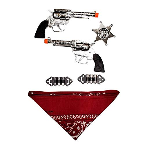 BXS Gifts Brown and Chrome Colored Finish Cowboy Western Gun Set with 2 Guns, Maroon Bandanna, and 2 Silver Badges, Mask and Bullets (Cowboy Western A)