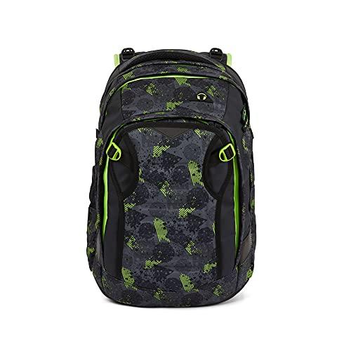 satch match Schulrucksack - ergonomisch, erweiterbar auf 35 Liter, extra Fronttasche - Off Road - Black, einheitsgröße