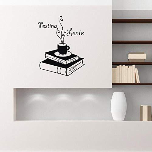 Muurstickers Muurtattoos citaten boeken koffie lezen plank vinyl sticker wooncultuur woonkamer kantoor studie wandfoto's
