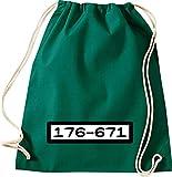 ShirtInStyle Gym Sacca Borsa palestra Borsa di culto Carnevale Banda bassotti Codice numerico - verde, 46 x 36 cm