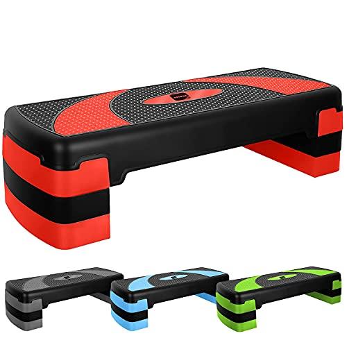 Mantimes Pasos de ejercicio, altura ajustable de 3 pasos, para gimnasio en casa, equipo de fitness para aeróbic, cardio, pesas, yoga, entrenamiento de DVD (rojo)