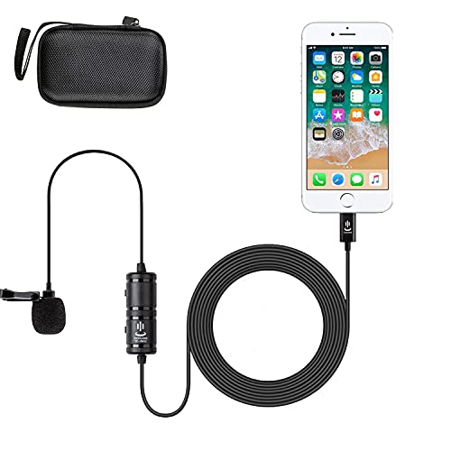 Microphone kit for iPhone,Lavalier Lapel Microphone Speaker Omnidirectional Audio Video Recording for iPhone X Xr Xs Max 11 Pro 8 8plus 7 7plus 6 6plus/iPad-6M(19.6ft)
