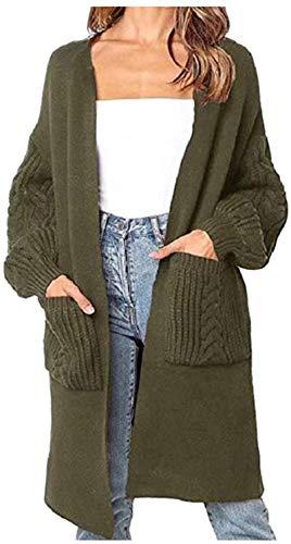 Cárdigan de manga larga para mujer, de invierno, de punto grueso, de longitud media, abrigo cálido verde Tallaúnica